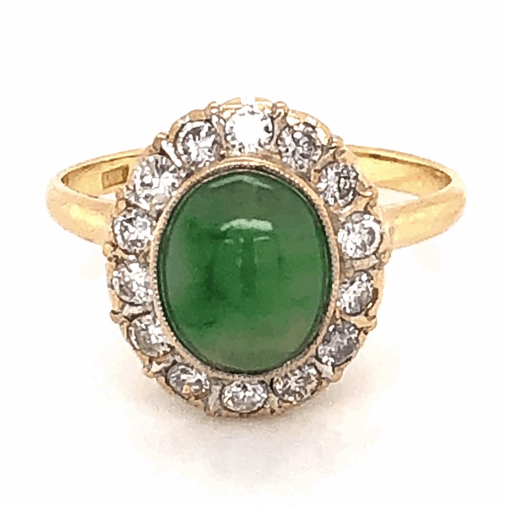 18K Yellow Gold 1960's 1.50ct Jade & .42tcw Diamond Ring 2.6g, s4.75