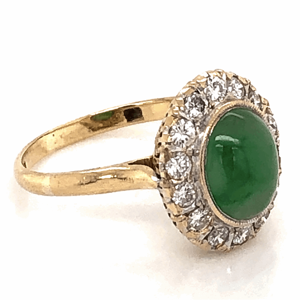 Image 2 for 18K Yellow Gold 1960's 1.50ct Jade & .42tcw Diamond Ring 2.6g, s4.75