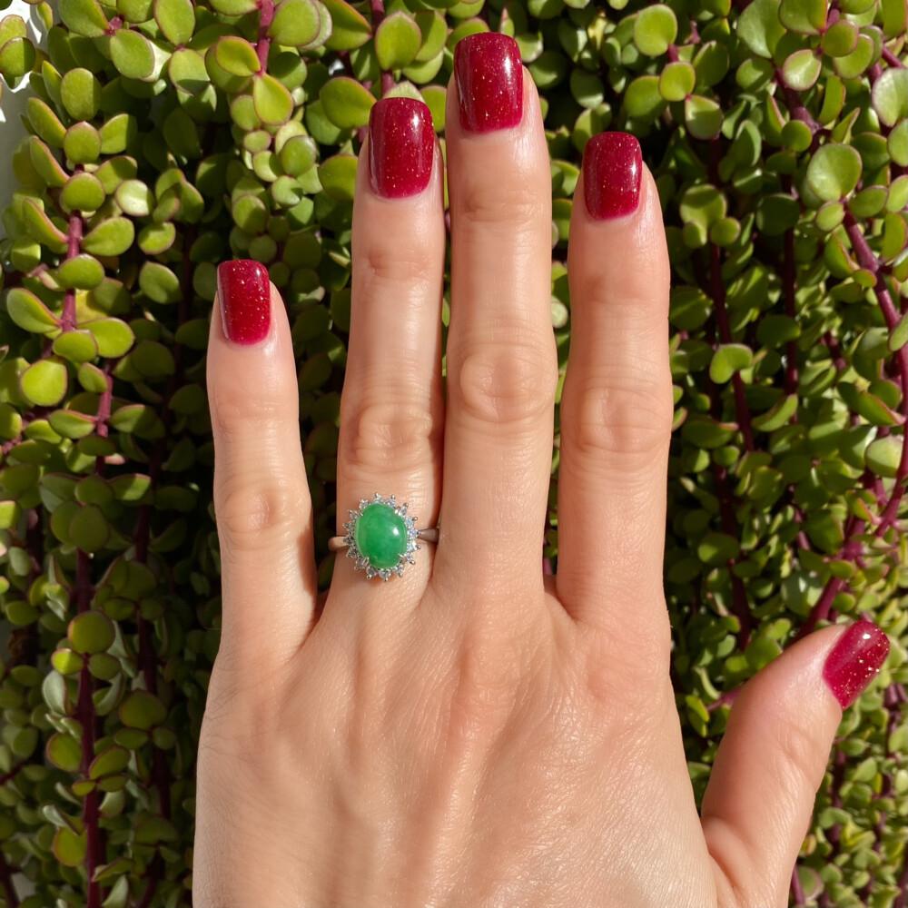 Platinum 2ct Oval Jadeite Jade & .46tcw Diamond Halo Ring 6.3g, s6.25