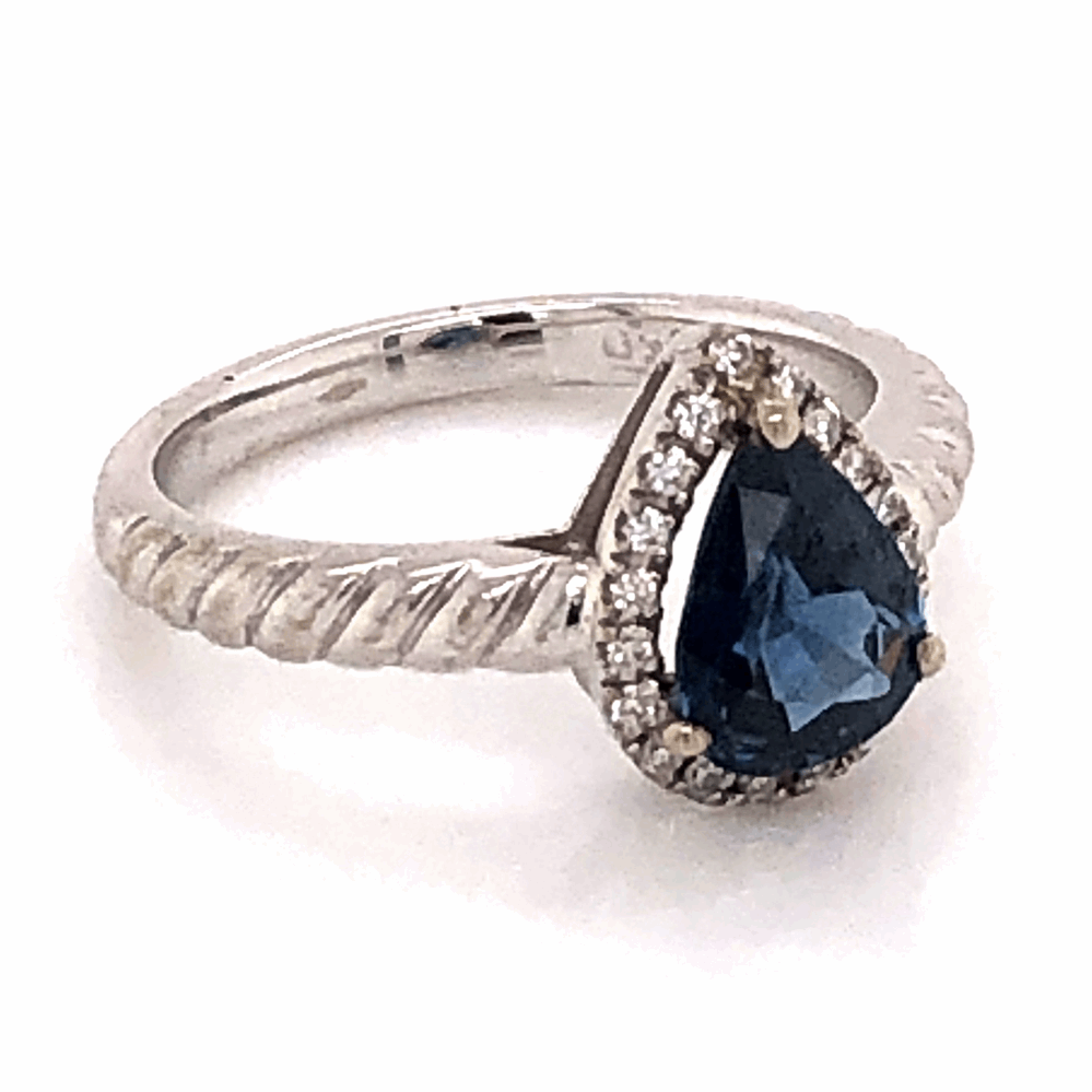 Image 2 for 18K White Gold .90ct Pear Sapphire & .14tcw Diamond Ring 3.3g, s3.75