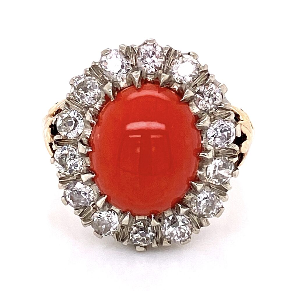 Platinum on 14K Yellow Gold 2.4ct Oval Coral & 1.50tcw Diamond Ring 7.3g, s5.75