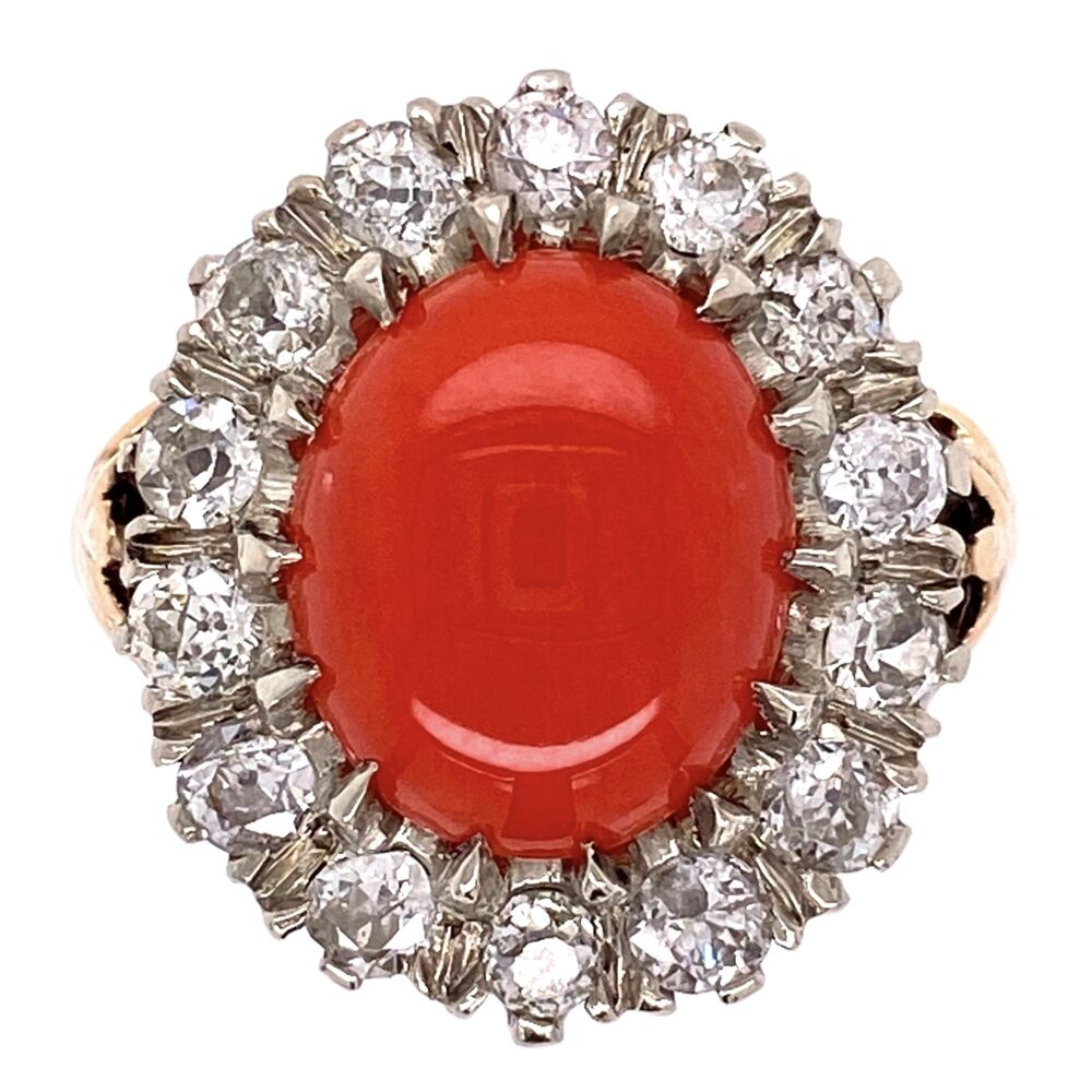 Image 2 for Platinum on 14K Yellow Gold 2.4ct Oval Coral & 1.50tcw Diamond Ring 7.3g, s5.75
