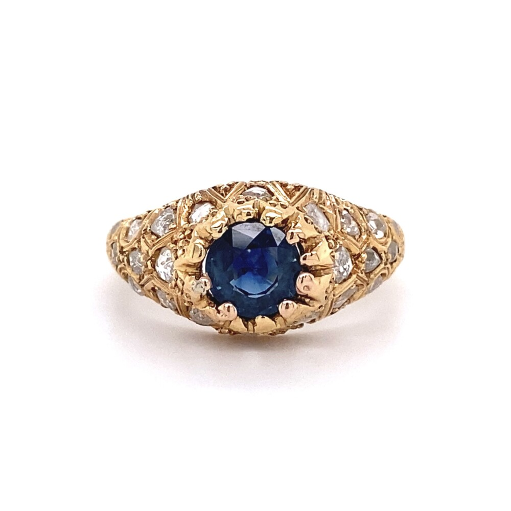 18K Yellow Gold 1.20ct Sapphire & 1.00tcw Rose Cut Diamond Ring 4.9g, s7