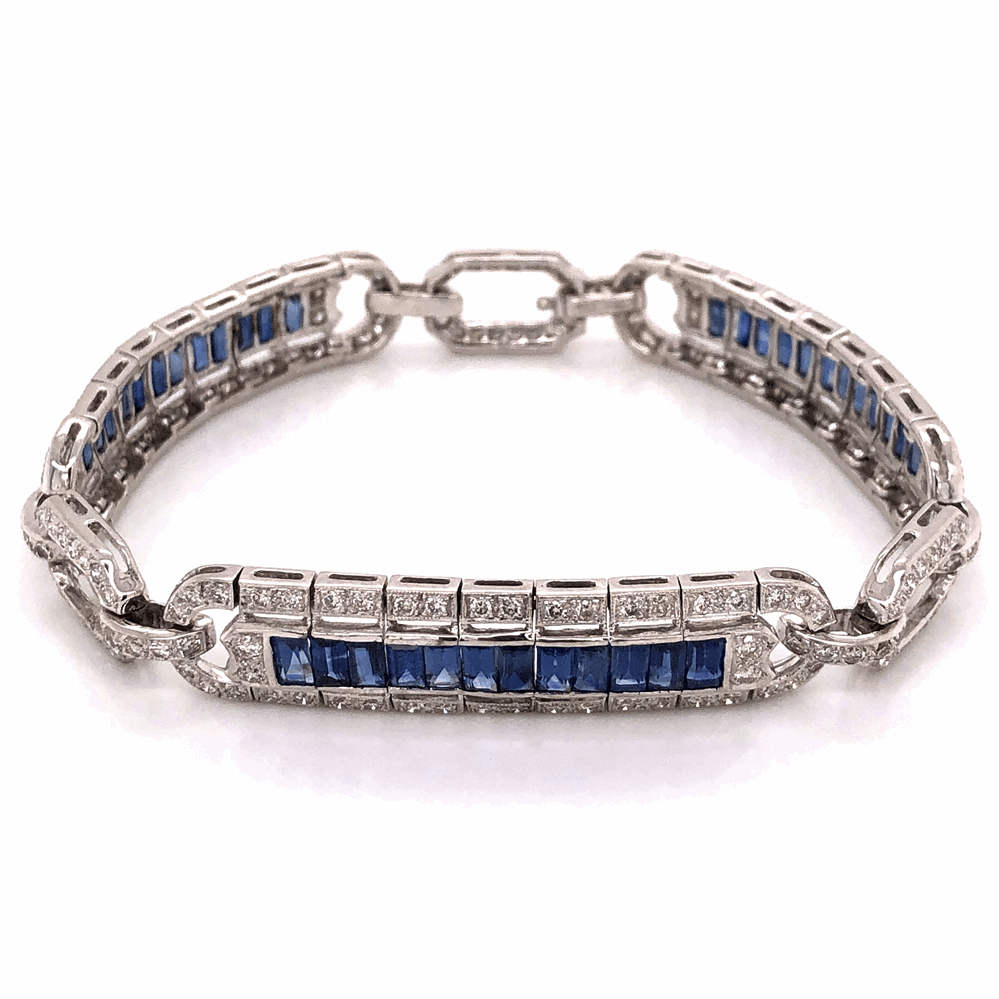 "18K White Gold Art Deco Style 3.00tcw Diamond & 4.50tcw Sapphire Bracelet 23.7g, 7.25"" Long"