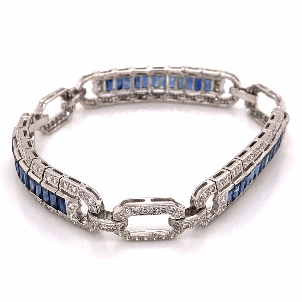 "Image 2 for 18K White Gold Art Deco Style 3.00tcw Diamond & 4.50tcw Sapphire Bracelet 23.7g, 7.25"" Long"