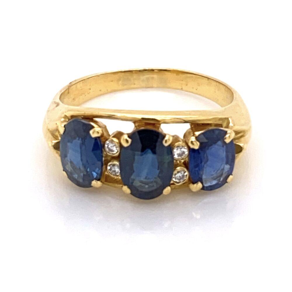 18K Yellow Gold 3 Oval Sapphire 2.50tcw & .04tcw Diamond Ring 4.8g, s6.25