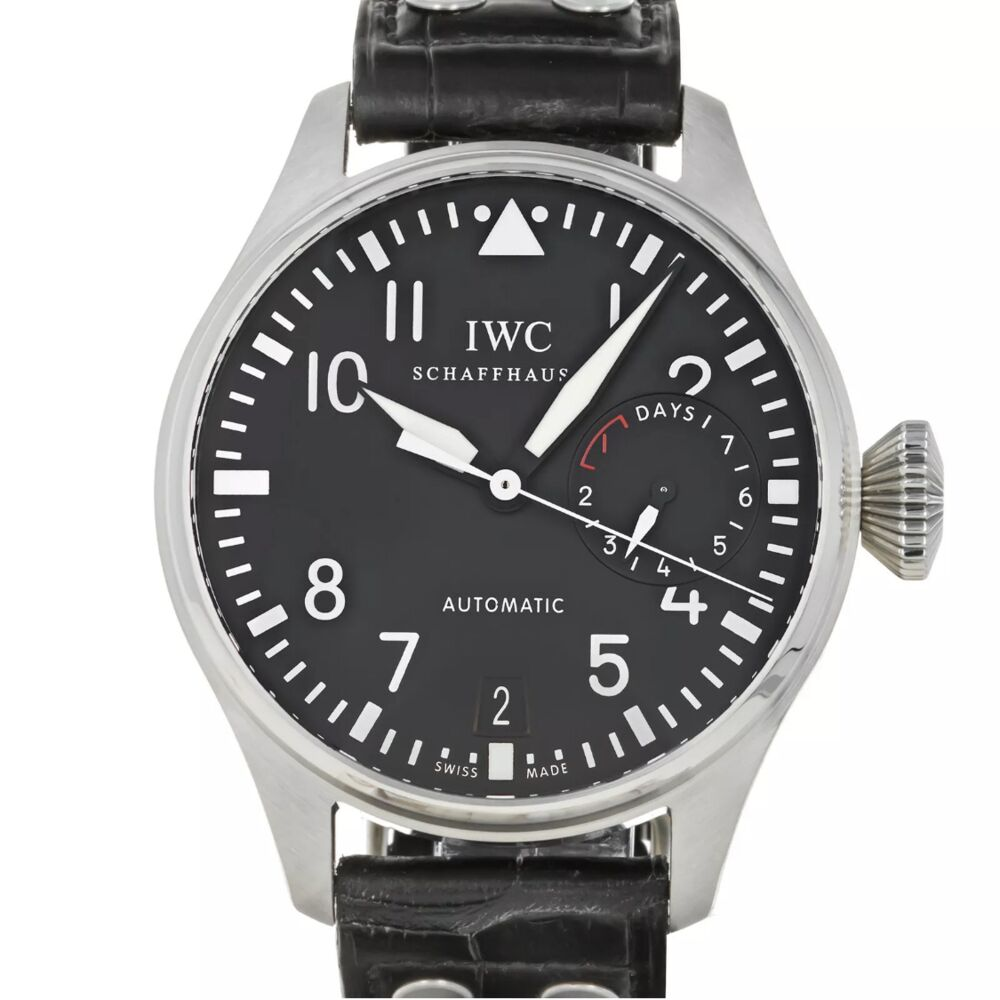 IWC Big Pilot Stainless Steel 46.2mm Watch 7day Movement $14,300 Retail