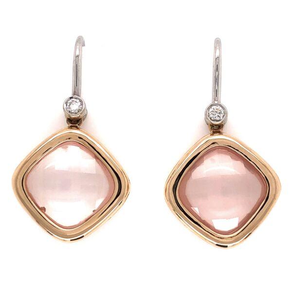 Closeup photo of 18K White & Rose Gold 9tcw Rose Quartz &.14tcw Diamond Earring Drops 7.4g
