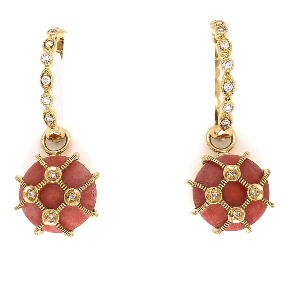 18K Yellow Gold JudeFrance Coral Diamond Drop on Cleopatra Hoops .20tcw, 9.3g
