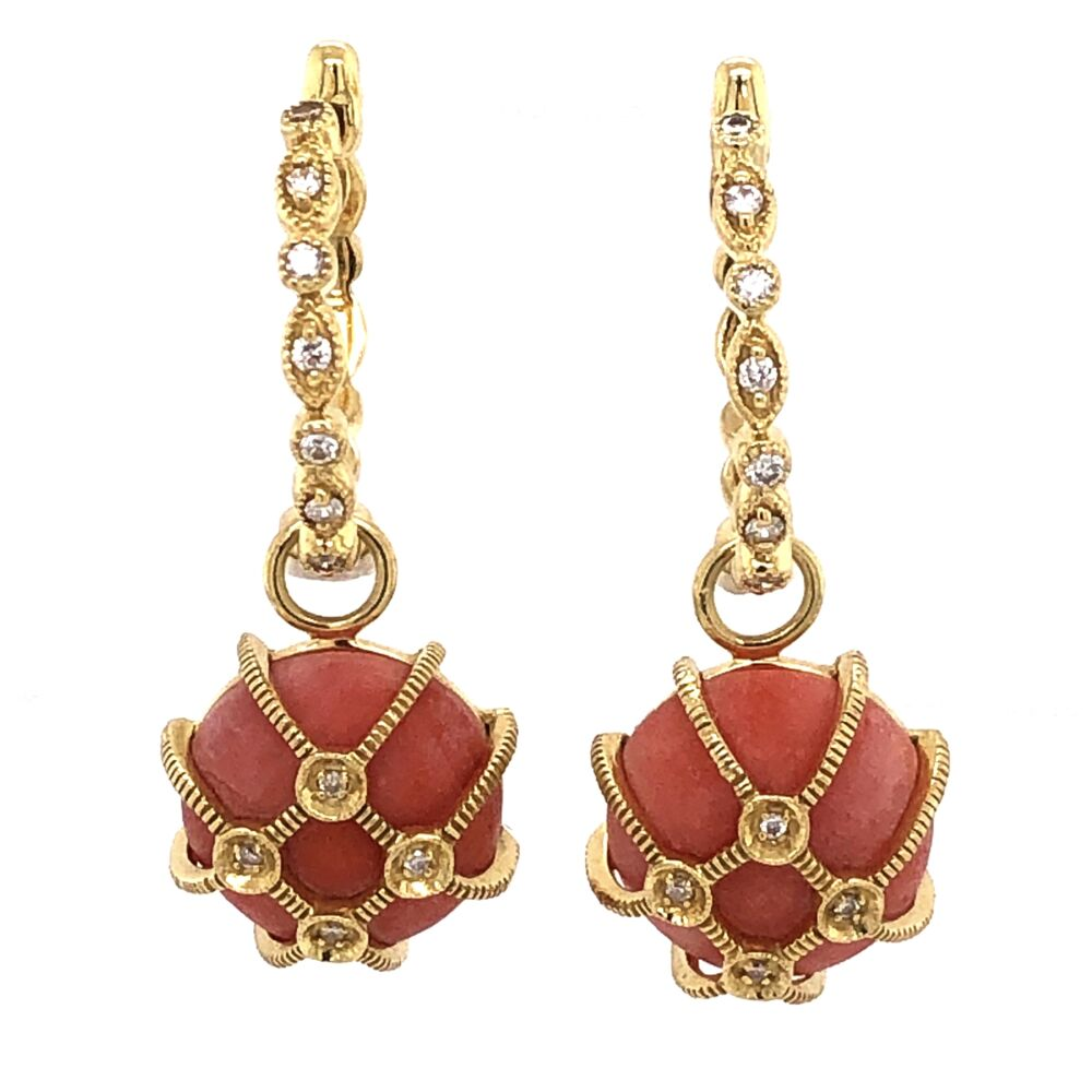 Image 2 for 18K Yellow Gold JudeFrance Coral Diamond Drop on Cleopatra Hoops .20tcw, 9.3g