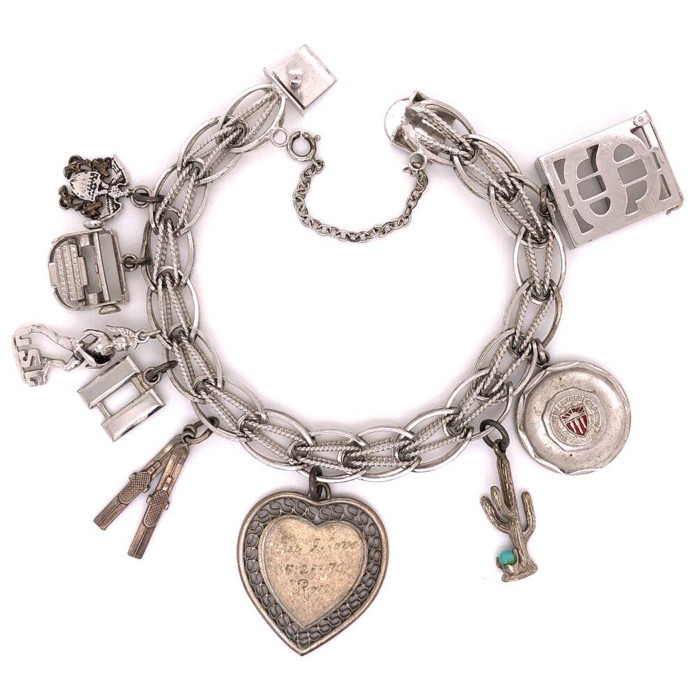 """925 Sterling Vintage Charm Bracelet 7.5"""" Long 41.4"""