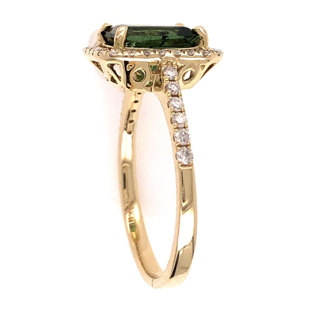 Image 2 for 14K Yellow Gold 1.70ct Green Tourmaline & .36tcw Diamond Ring 3.1g, s7