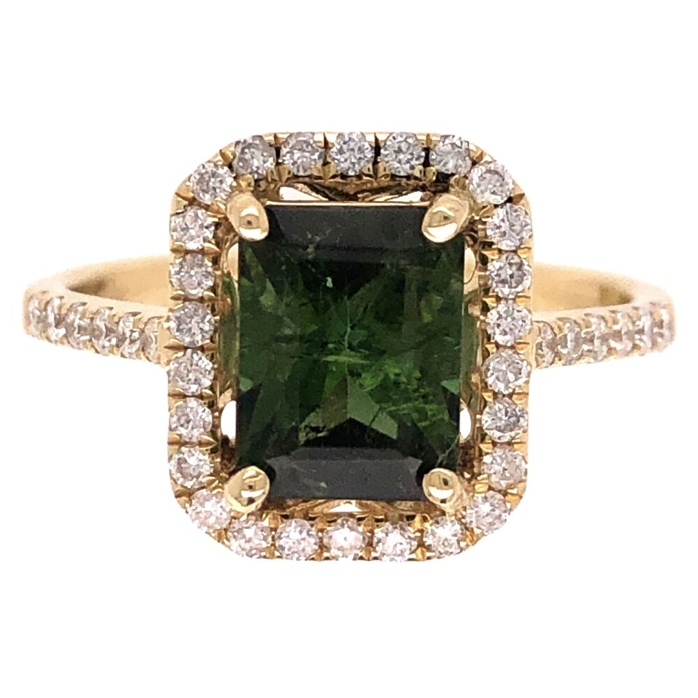 14K Yellow Gold 1.70ct Green Tourmaline & .36tcw Diamond Ring 3.1g, s7
