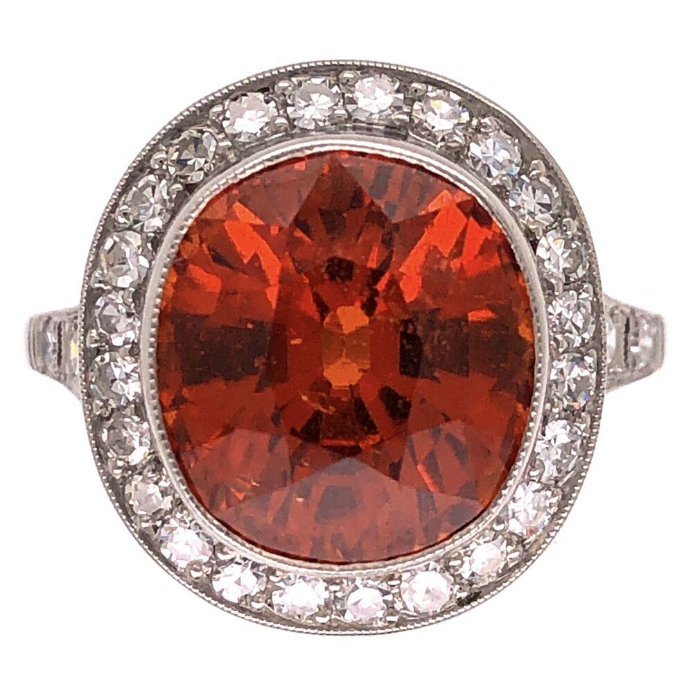 Platinum Art Deco 8.17ct Spessartite Garnet & .58tcw Diamond Ring 6.5g, s7