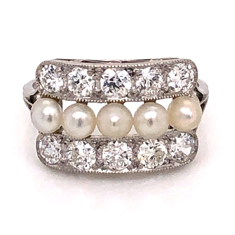 Platinum 850 Art Deco 1.50tcw Old European Cut Diamond & Natural Pearl Ring 3.4g, s7