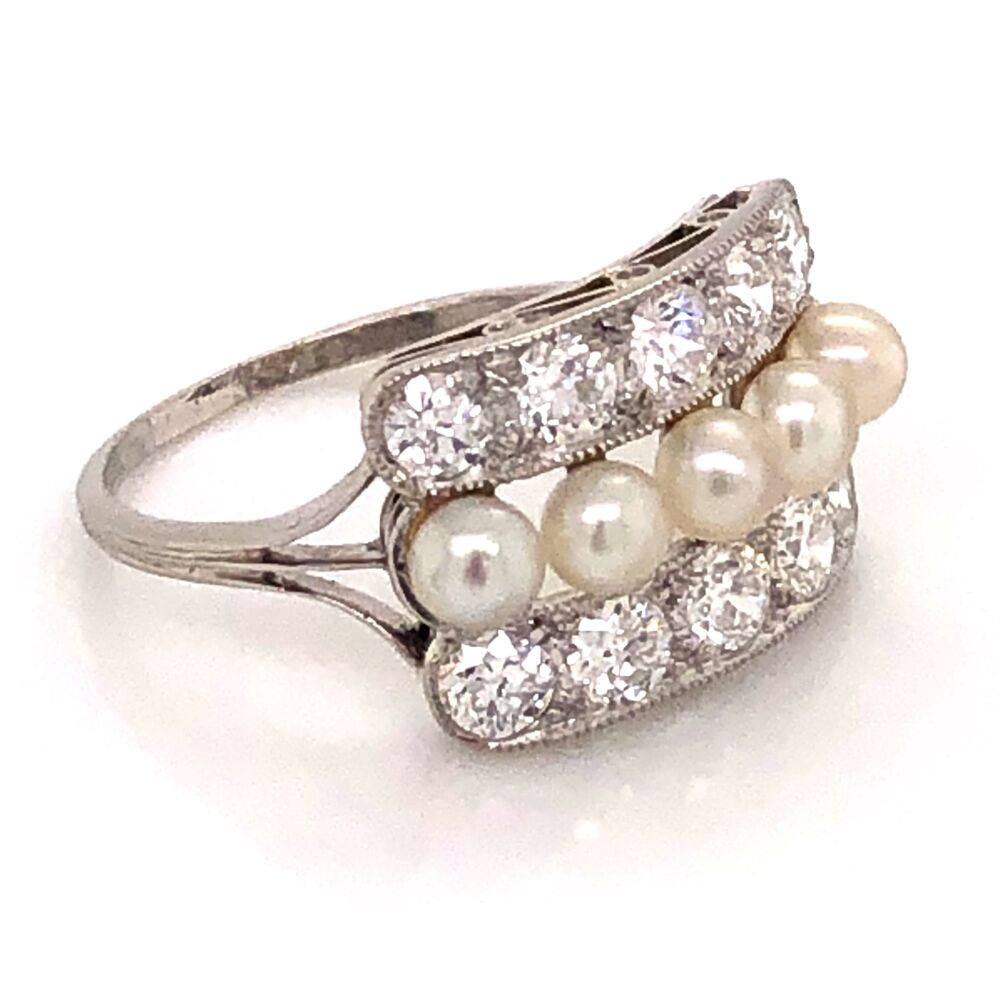 Image 2 for Platinum 850 Art Deco 1.50tcw Old European Cut Diamond & Natural Pearl Ring 3.4g, s7