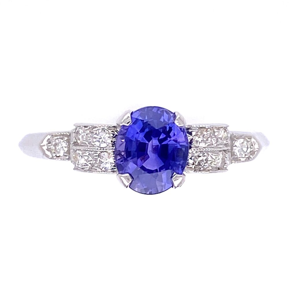 Platinum Art Deco .95ct Oval Purple Sapphire with .12tcw Diamonds Ring with Milgrain 2.5g, s7.5