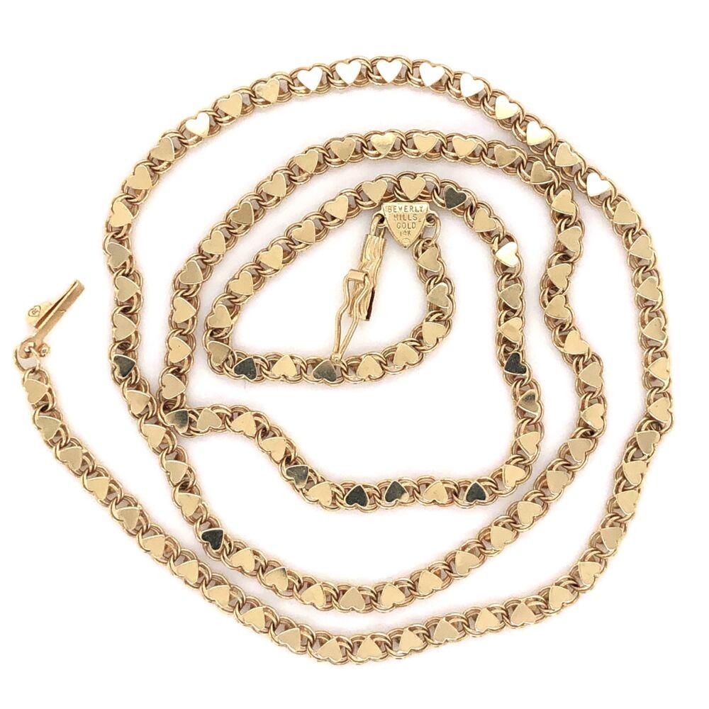 """14K Yellow Gold Beverly Hills Gold Heart Motif Chain 7.9g, 20"""""""