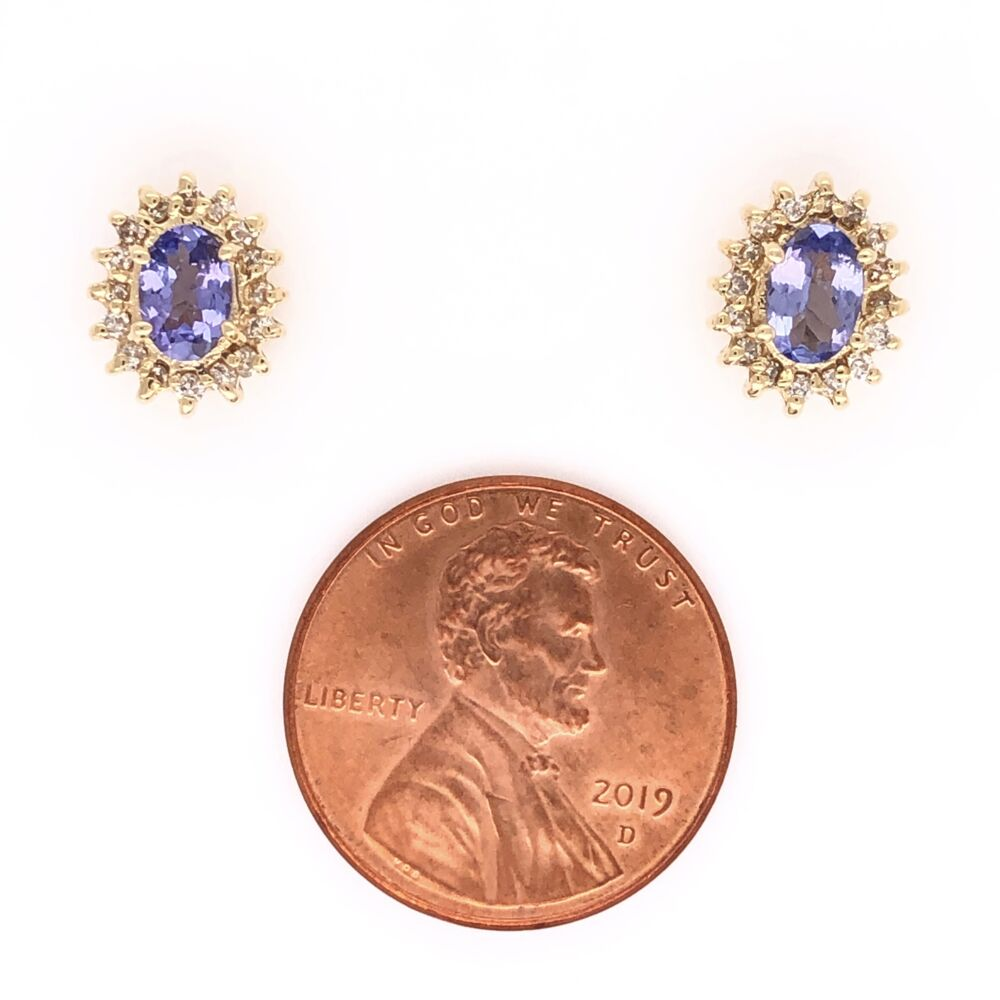 Image 2 for 14K Yellow Gold .50tcw Oval Tanzanite & .28tcw Diamond Earrings 2.2g Friction Backs