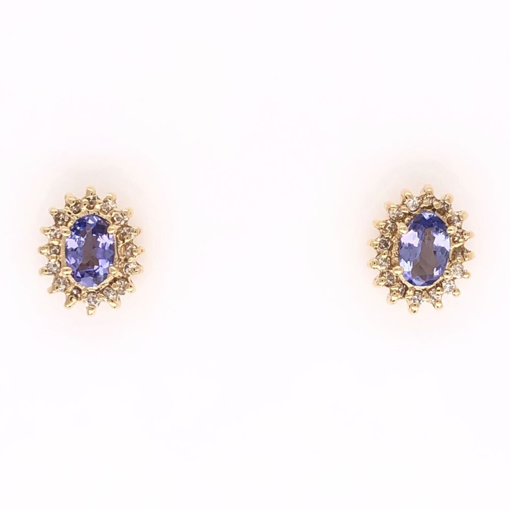 14K Yellow Gold .50tcw Oval Tanzanite & .28tcw Diamond Earrings 2.2g Friction Backs