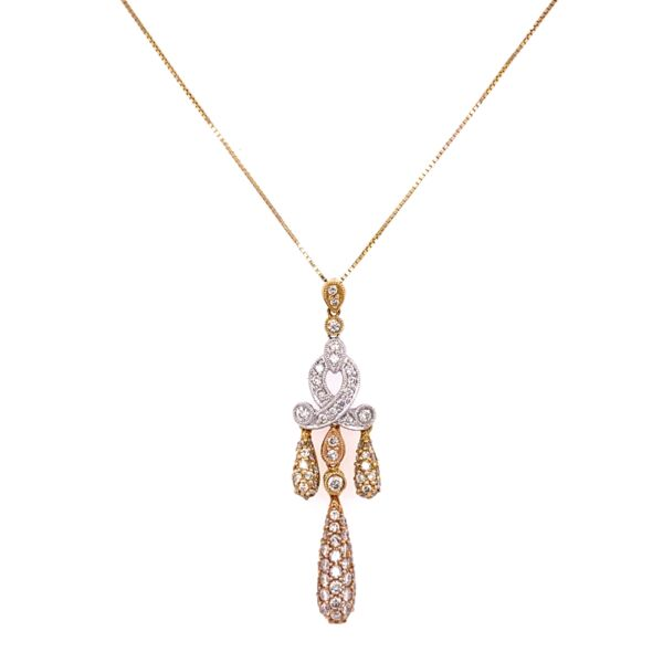 """Closeup photo of 14/18K White & Yellow Gold Drop Necklace with 1.55tcw Diamonds 4.5g, 18"""""""