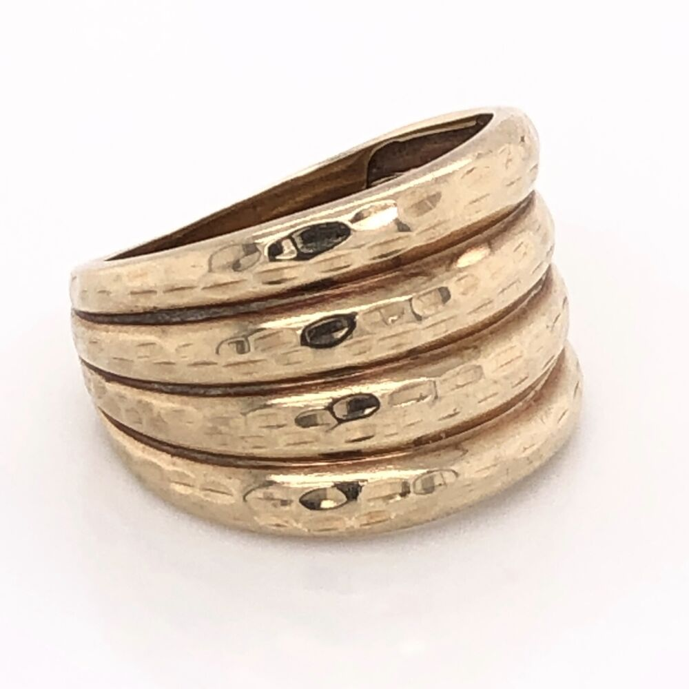 Image 2 for 10K Yellow Gold 4 row Hammered Band Ring