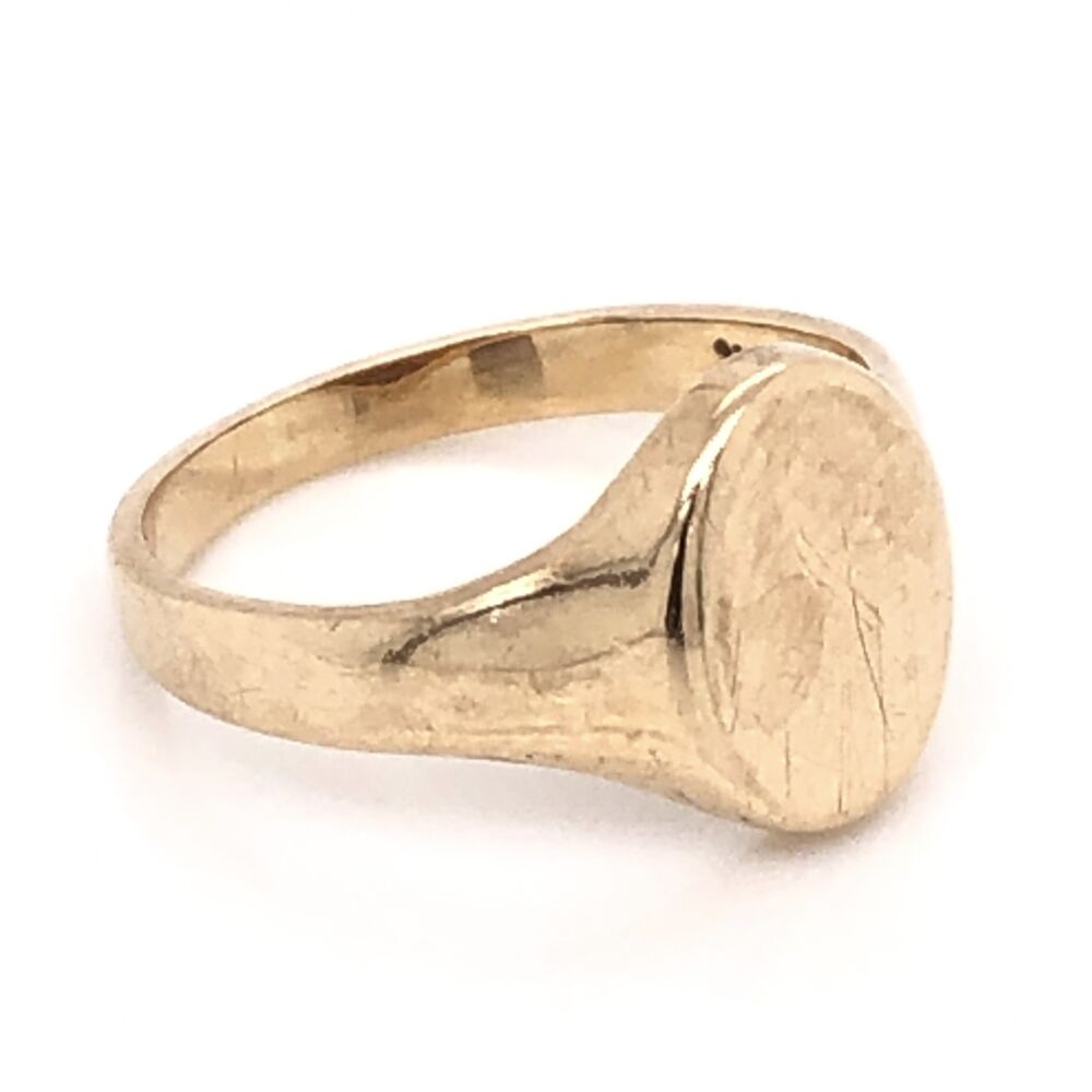 10K Yellow Gold Victorian Signet Ring 2.4g, s5