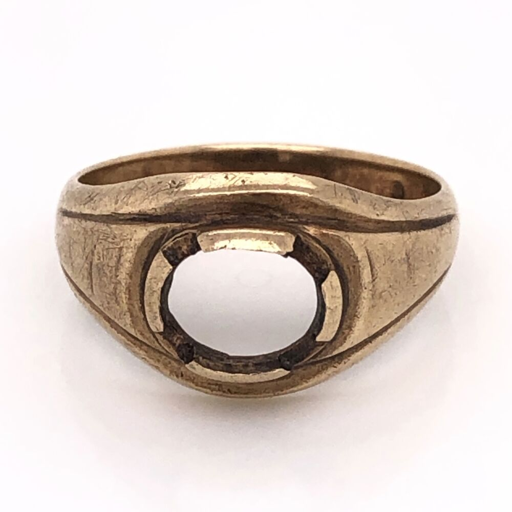 10K Yellow Gold Victorian Wide Solitaire Semimount Ring 4.4g, s10