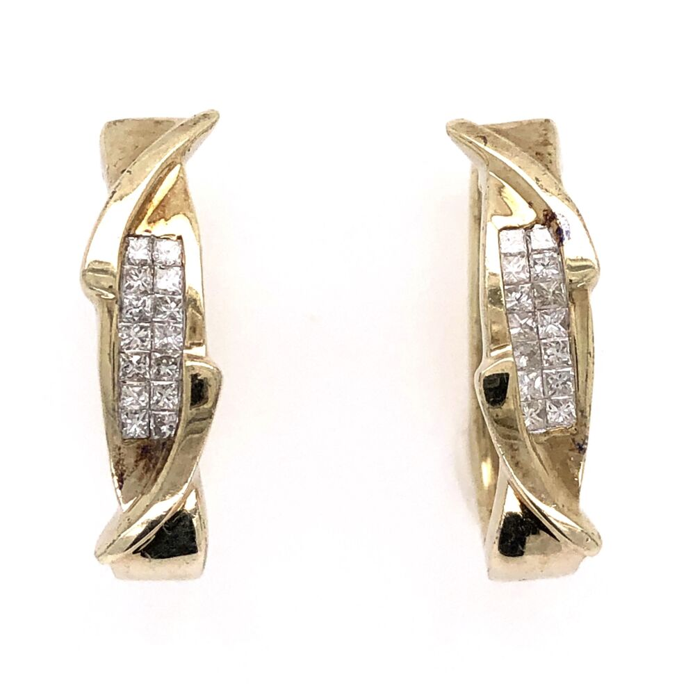"14K Yellow Gold Fancy Hoop Earrings with 28 Princess Cut Diamonds weighing .50tcw 6.4g, .75"" Tall"