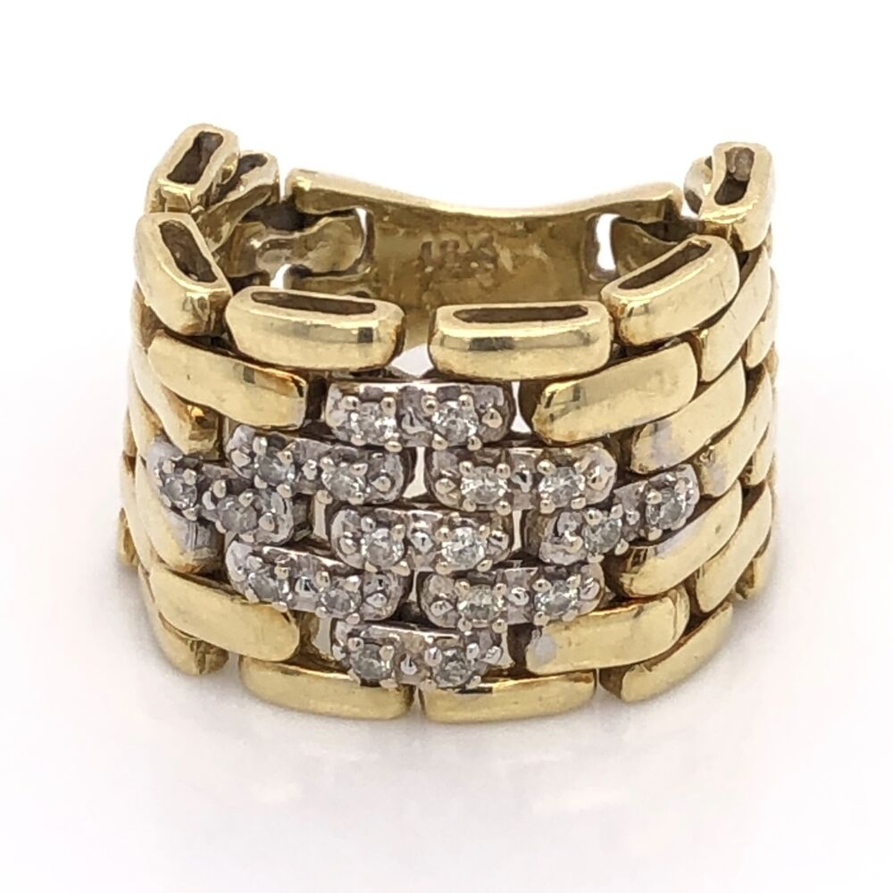 """18K Yellow Gold Mesh Link Ring with .28tcw Diamonds 12.3g, 5/8"""" Wide"""
