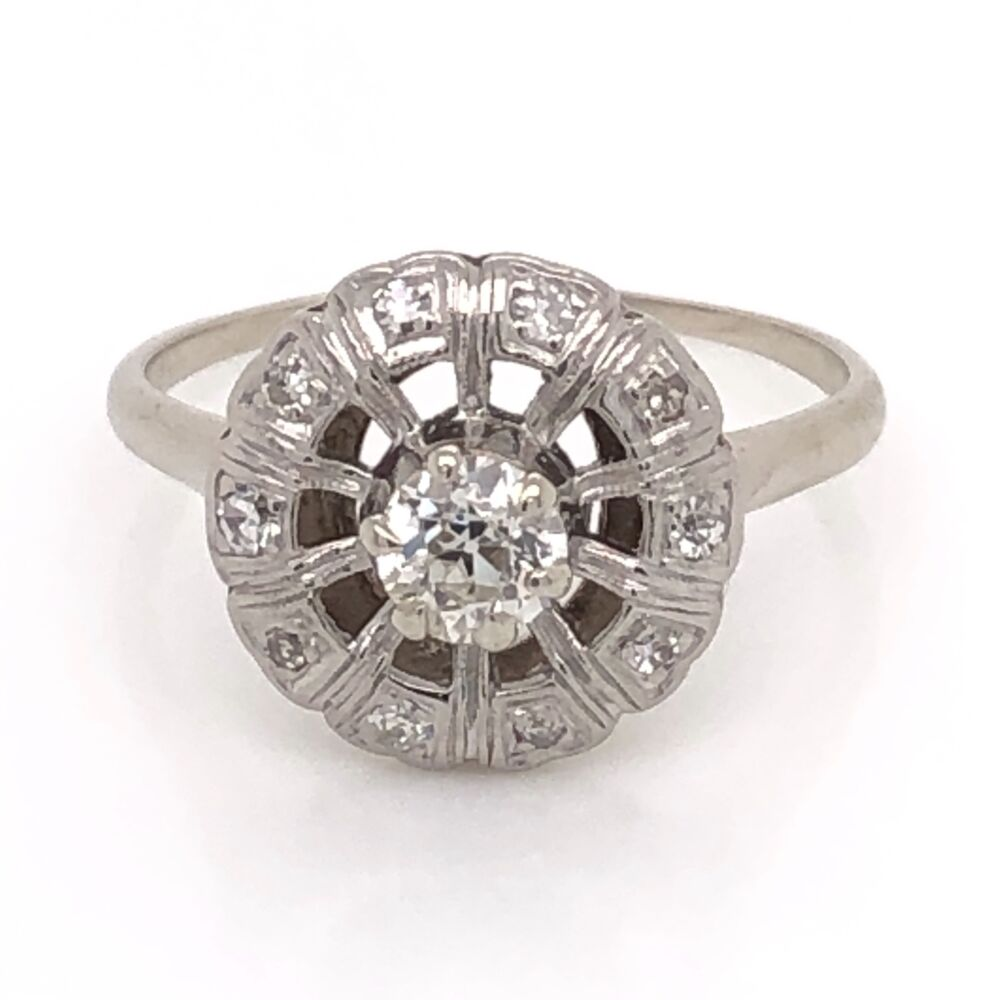 14K White Gold Round Art Deco .32ct Old European Cut Diamond Ring with .12tcw side Diamond 2.4g