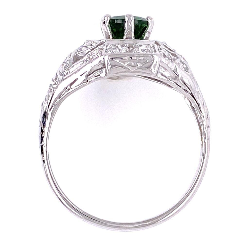 Image 2 for Platinum Art Deco .78ct Round Tsavorite & .35tcw Diamonds Ring 4.1g, s6