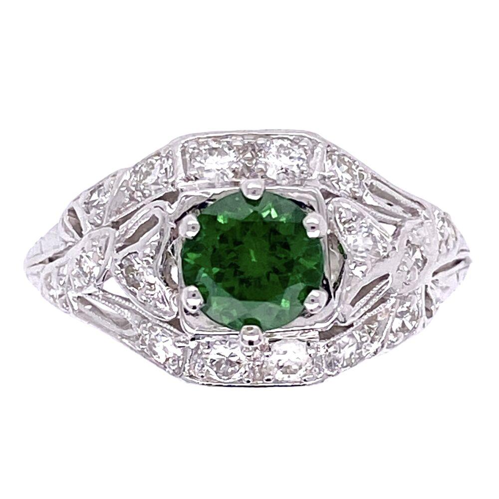 Platinum Art Deco .78ct Round Tsavorite & .35tcw Diamonds Ring 4.1g, s6