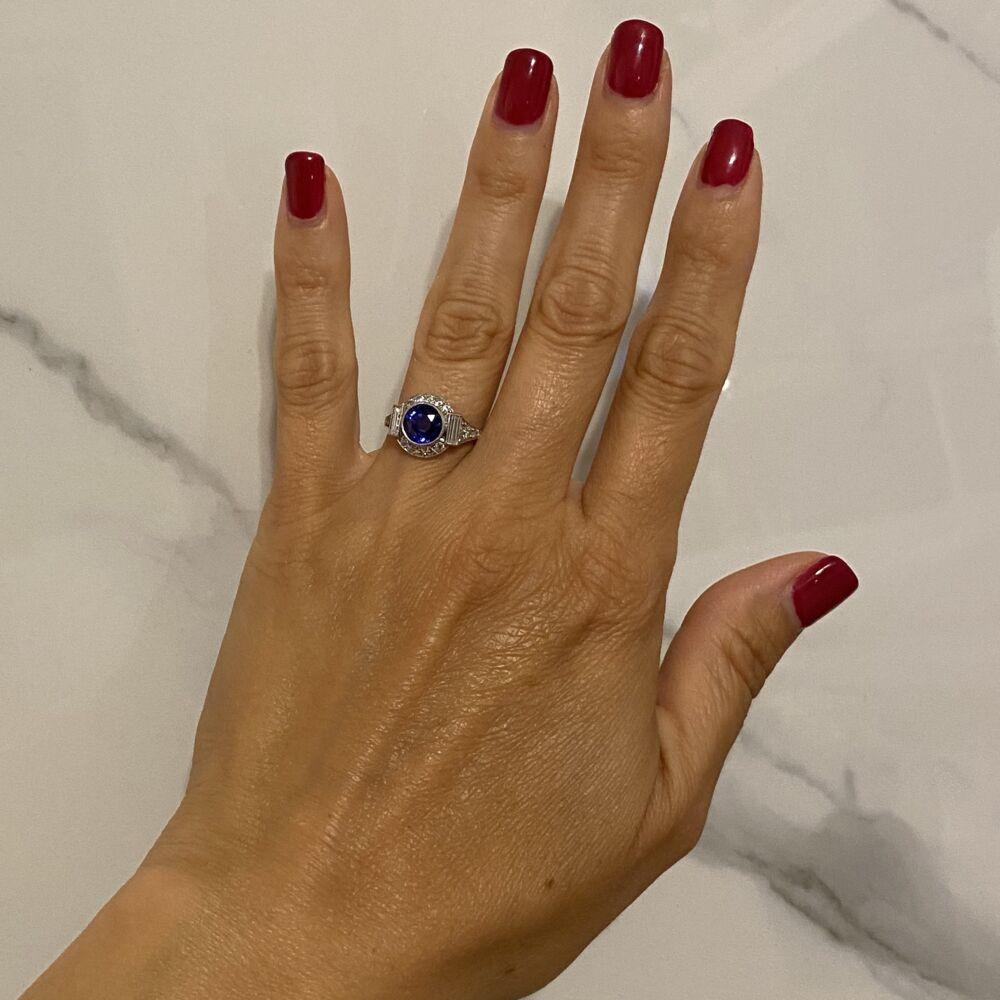 Platinum Art Deco 2.35ct Round Sapphire & .85tcw Diamond Ring s7.25