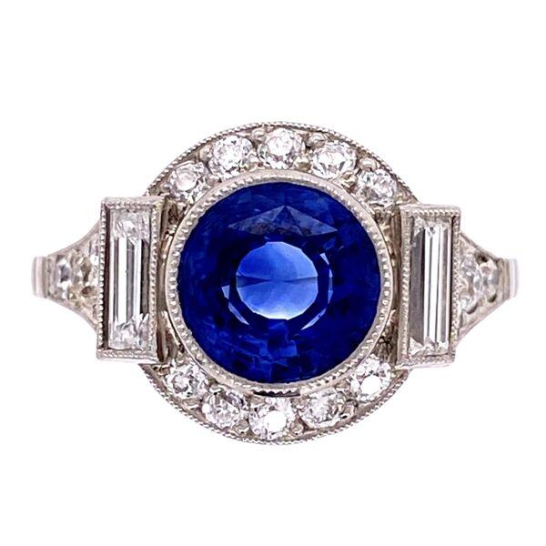 Closeup photo of Platinum Art Deco 2.35ct Round Sapphire & .85tcw Diamond Ring s7.25