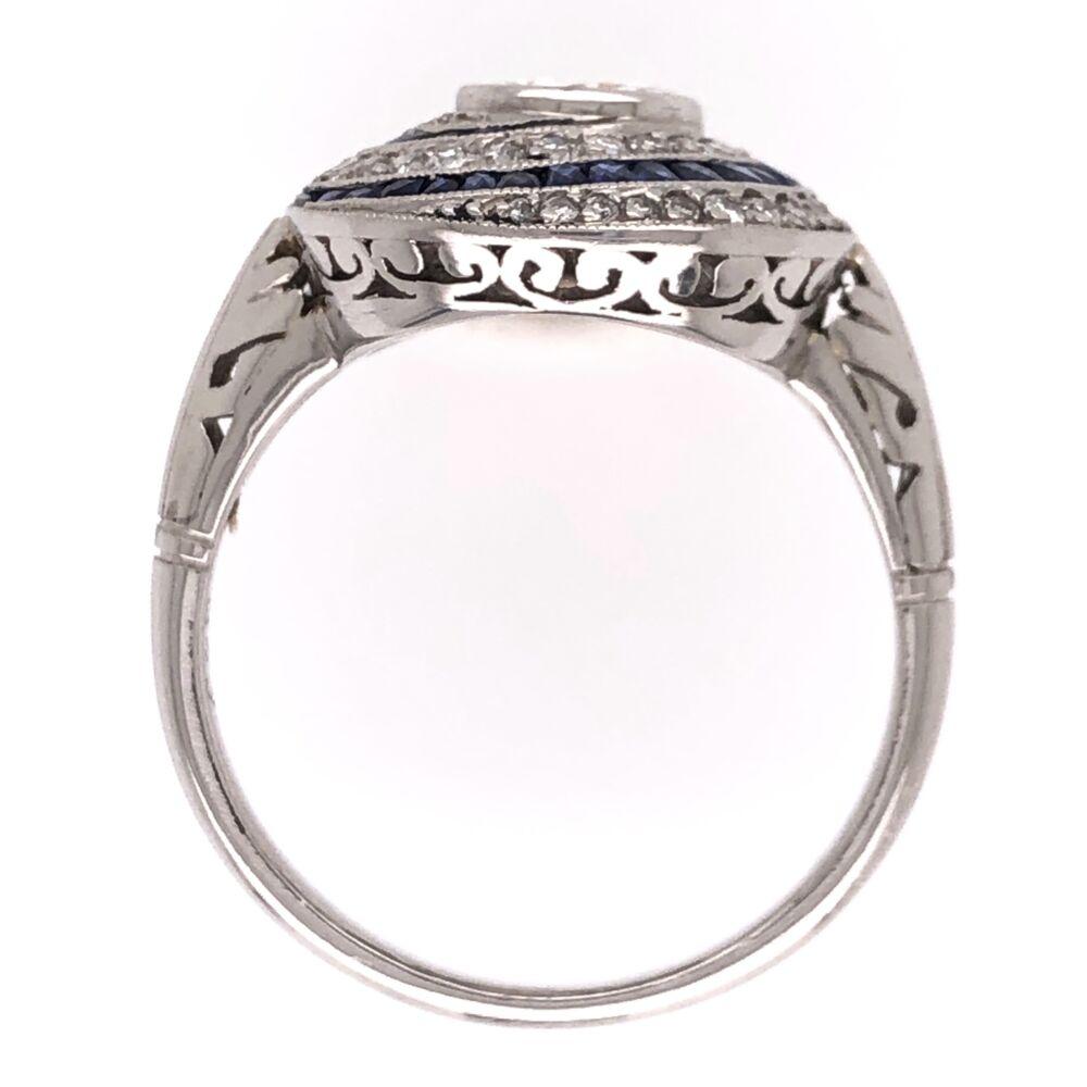 Image 2 for Platinum Art Deco .63ct Old European Cut Diamond, .60tcw Sapphires & .76tcw Side Diamond Ring, 6.50