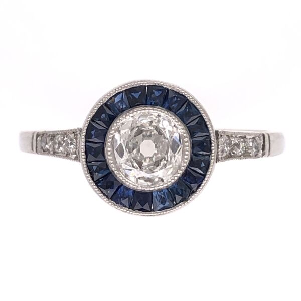 Closeup photo of Platinum .40ct Old European Cut Diamond Ring with French Cut Sapphire halo .50tcw 2.8g, s7