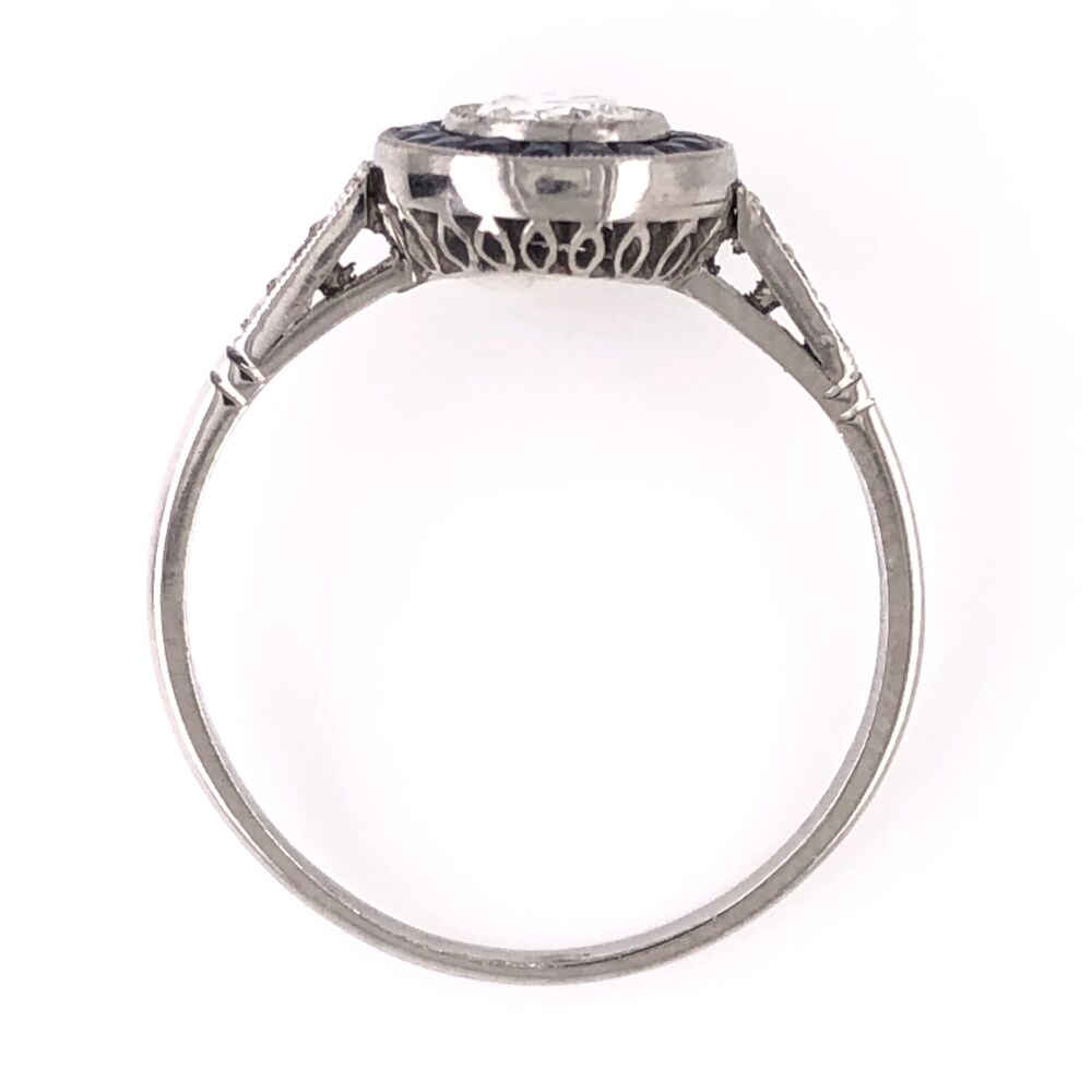 Image 2 for Platinum .40ct Old European Cut Diamond Ring with French Cut Sapphire halo .50tcw 2.8g, s7