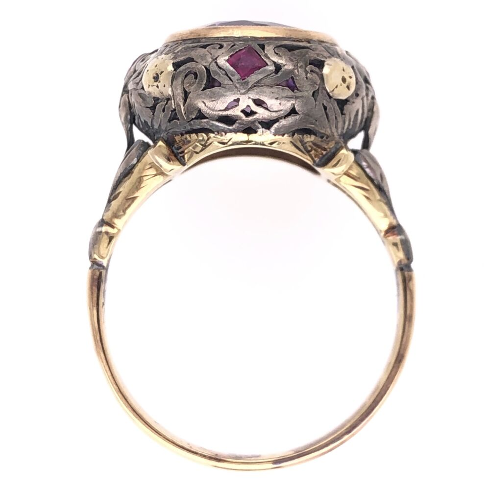 Image 2 for 18K Yellow Gold & Silver Arts & Crafts 5ct Amethyst & .20tcw Ruby Ring 5.7g, s8.5