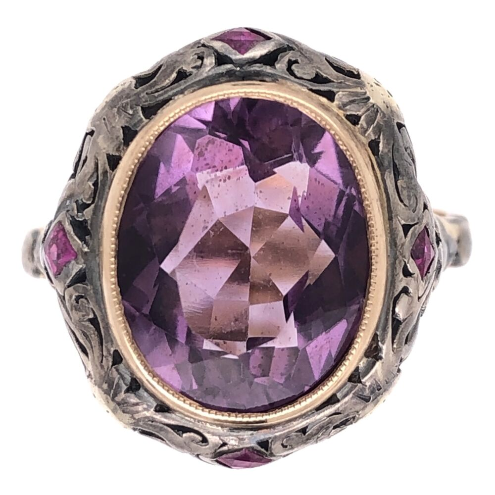 18K Yellow Gold & Silver Arts & Crafts 5ct Amethyst & .20tcw Ruby Ring 5.7g, s8.5