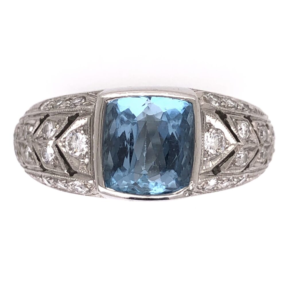 Platinum 2.00ct Aquamarine & .46tcw Diamonds Designer JAMES Ring 14.2g, s7.75