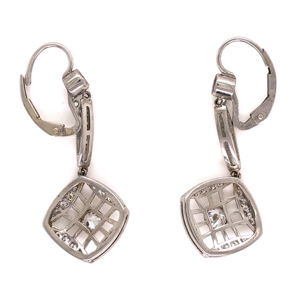 "Image 2 for Platinum Art Deco Diamond Earrings 2 Old European Diamonds are .62tcw & .48tcw side diamonds, 1.50"" Long"