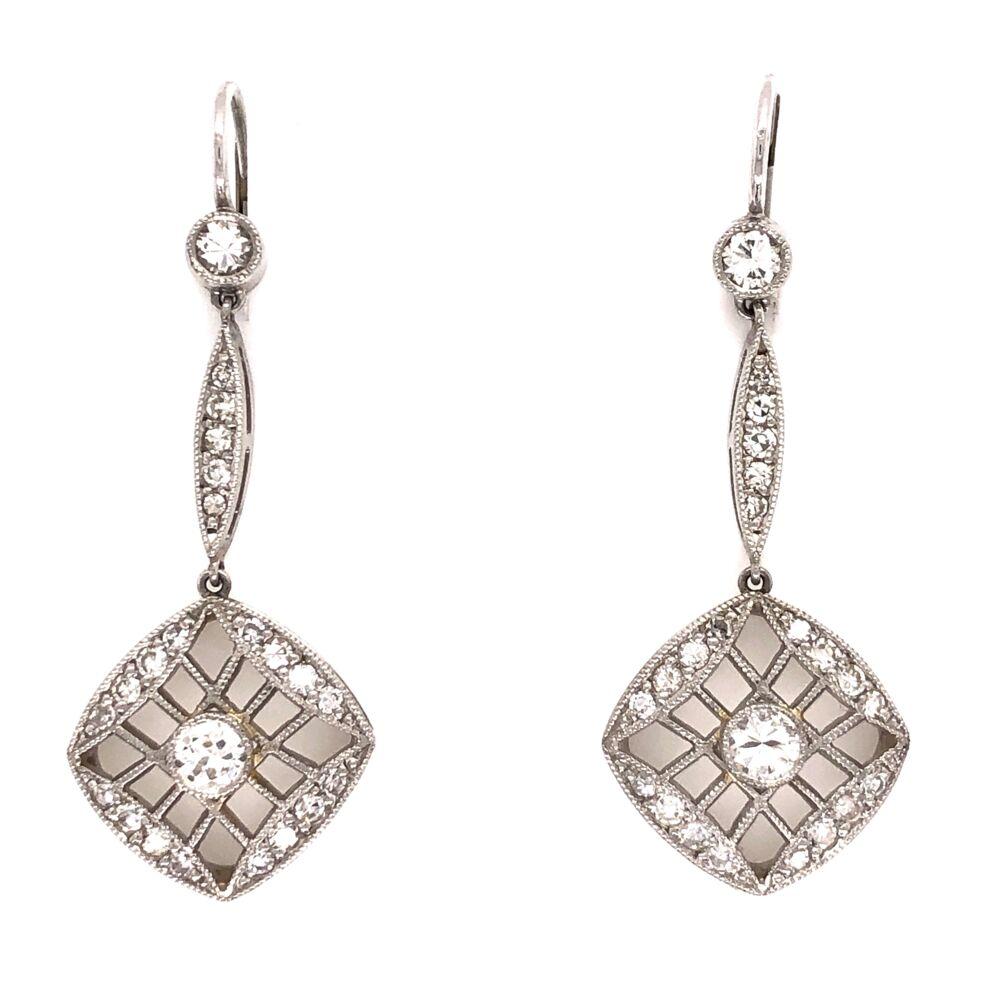 "Platinum Art Deco Diamond Earrings 2 Old European Diamonds are .62tcw & .48tcw side diamonds, 1.50"" Long"