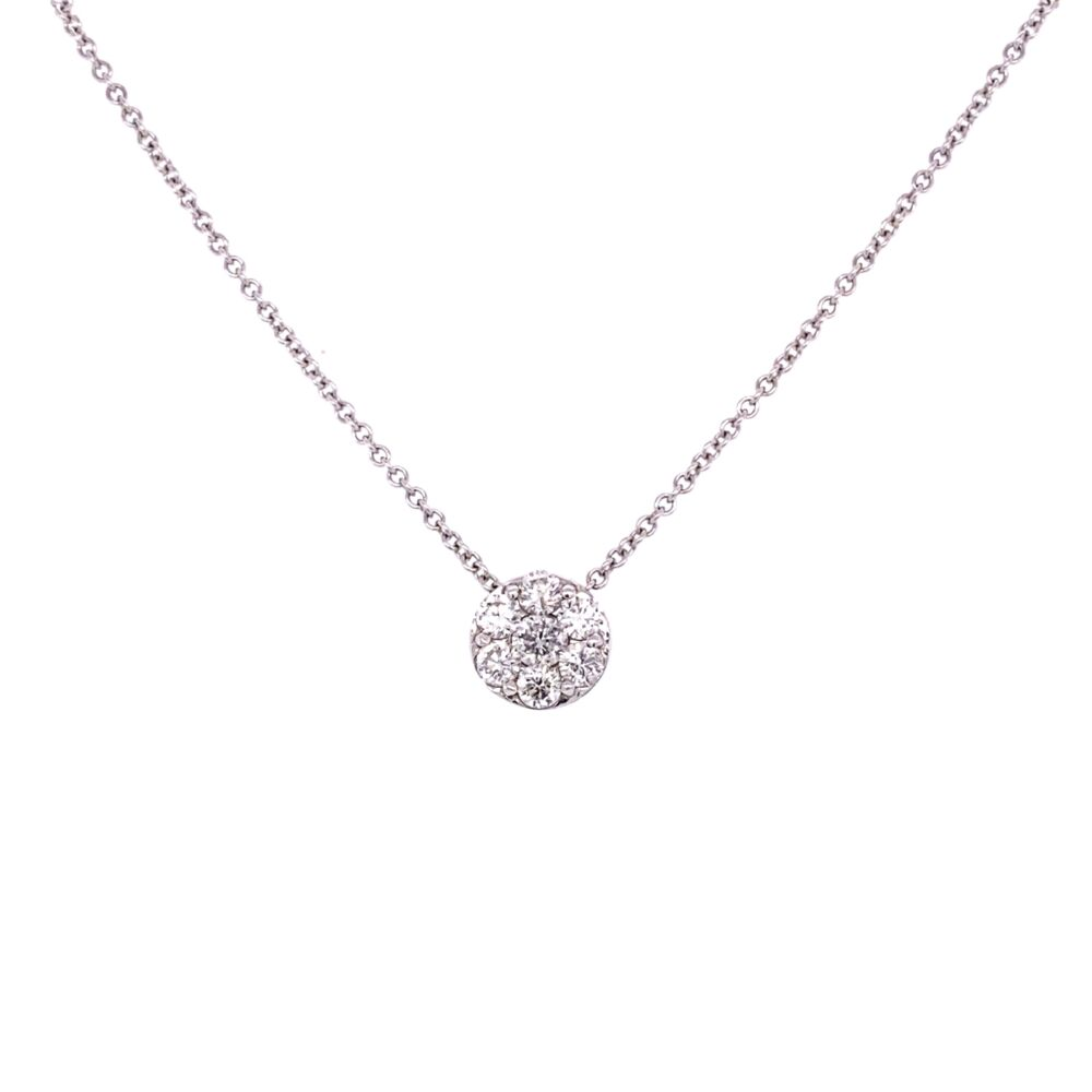"14K White Gold .80tcw Diamond Circle Cluster Pendant on 16"" Chain"