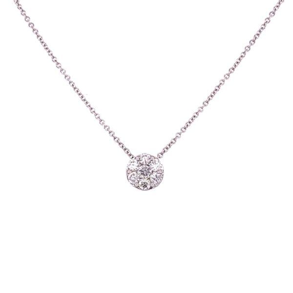 "Closeup photo of 14K White Gold .80tcw Diamond Circle Cluster Pendant on 16"" Chain"