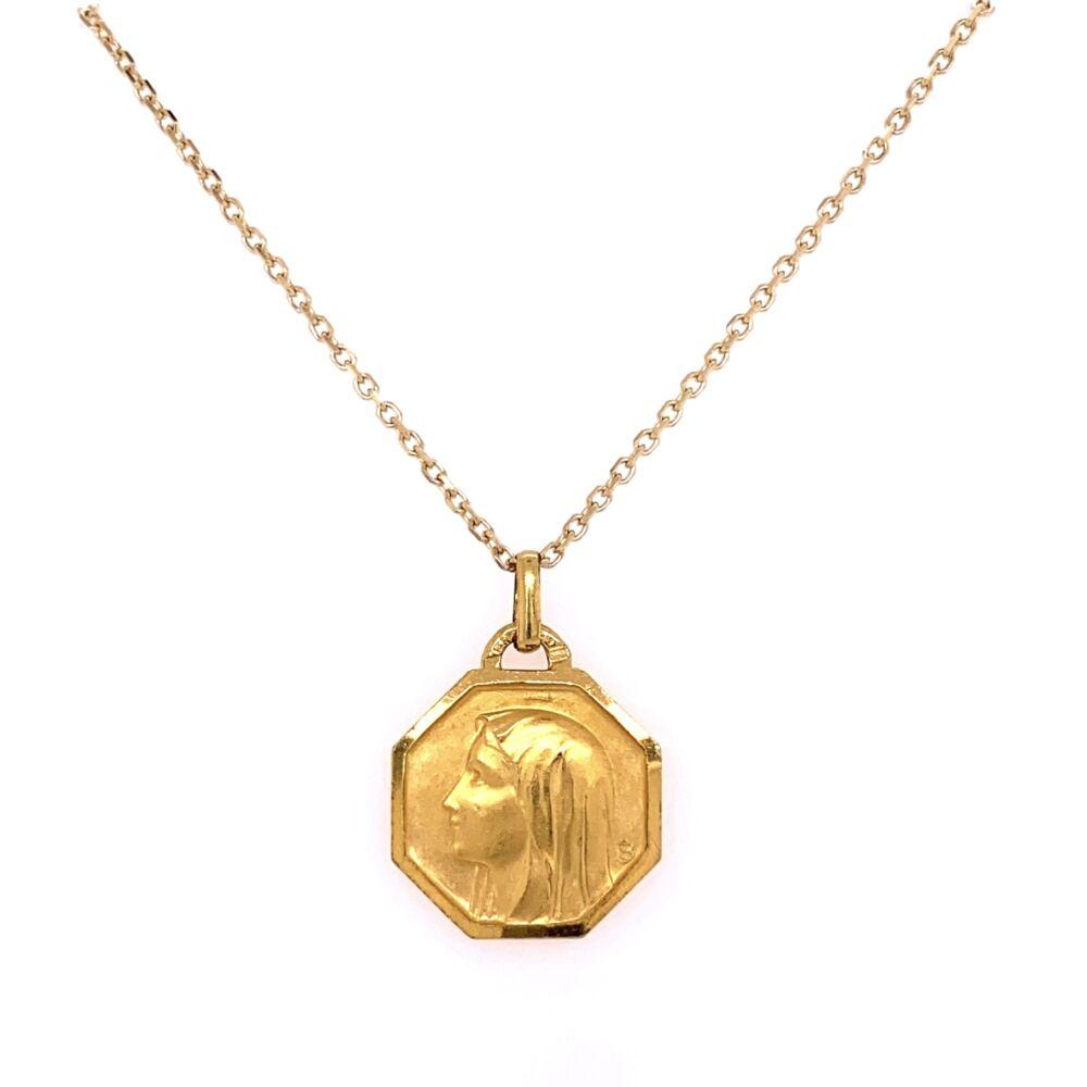 "14K Yellow Gold FRENCH Saint Pendant 5.0g on 16"" Chain"