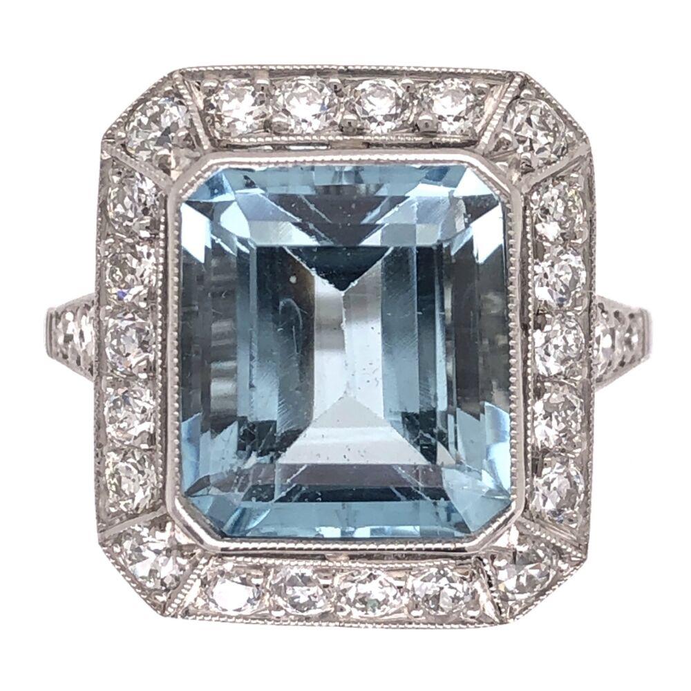 Platinum Art Deco 4.37ct Emerald Cut Aquamarine & .87tcw Diamond Ring 7.2g, s7.5