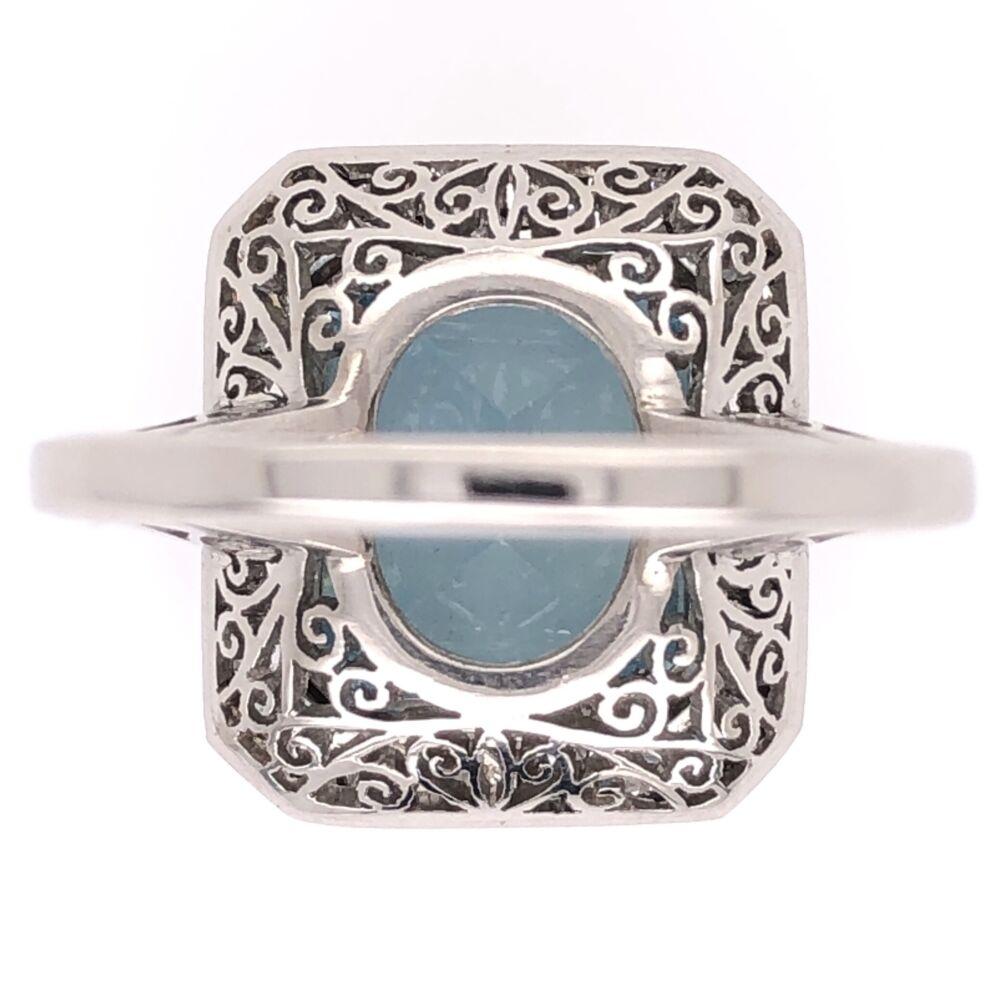 Image 2 for Platinum Art Deco 4.37ct Emerald Cut Aquamarine & .87tcw Diamond Ring 7.2g, s7.5
