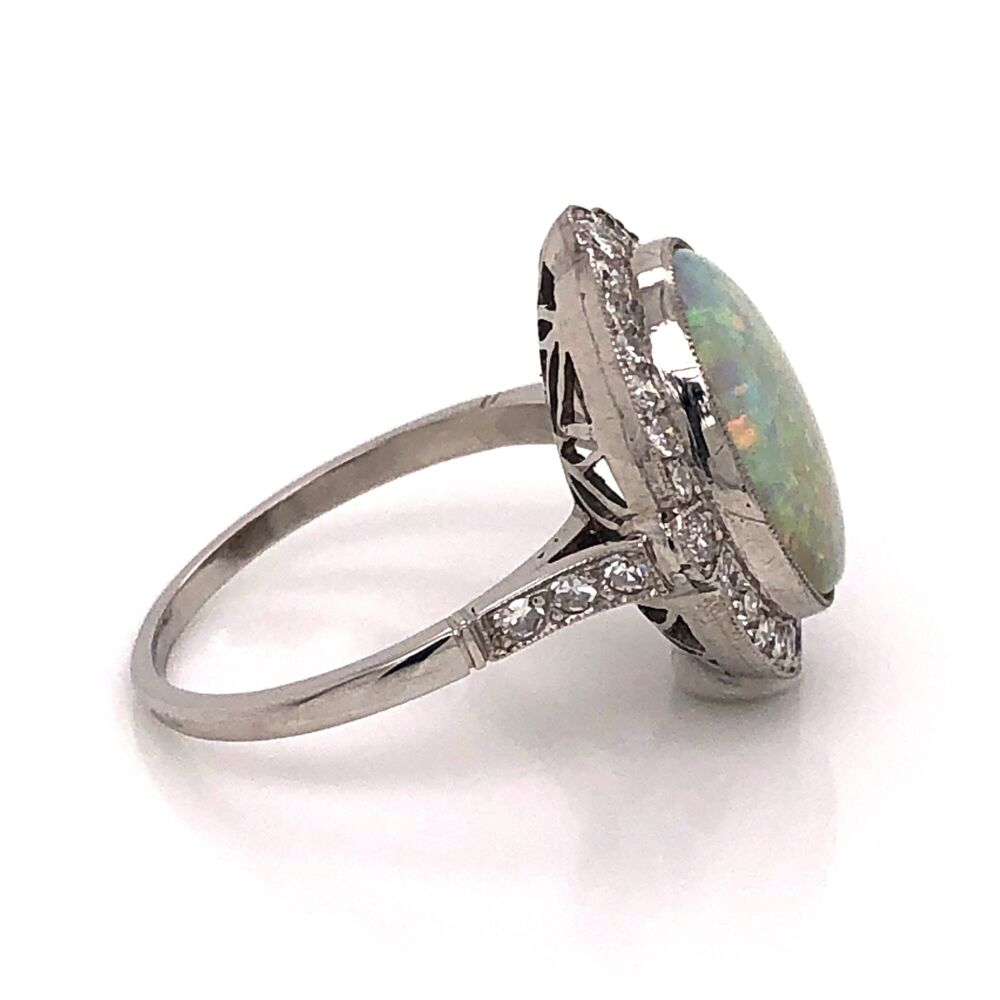 Image 2 for Platinum Art Deco 3.20ct Oval White Opal & .54tcw Diamond Ring 6.15g, s6.75