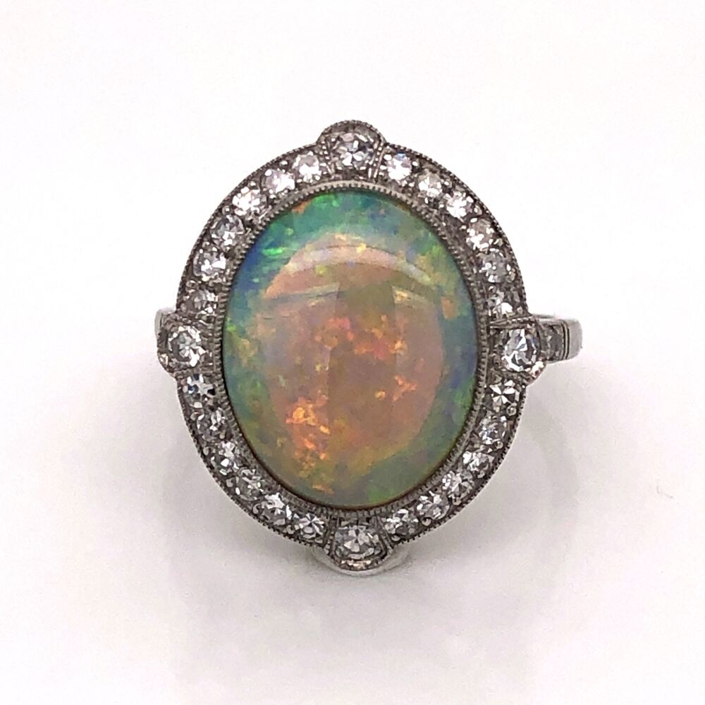 Platinum Art Deco 3.20ct Oval White Opal & .54tcw Diamond Ring 6.15g, s6.75